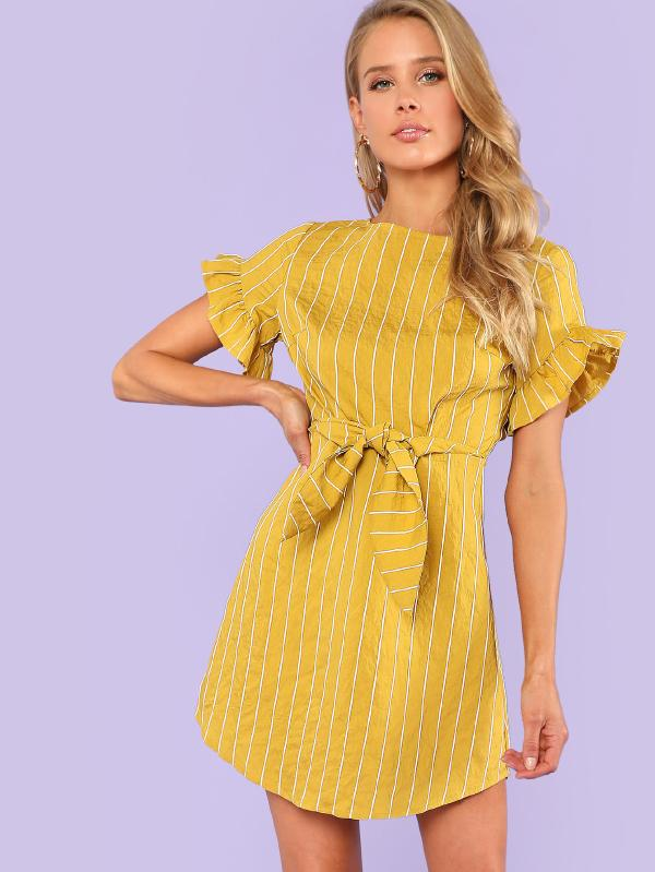 SHEIN Flounce Sleeve Striped Dress