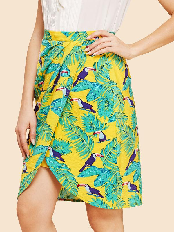 SHEIN Palm Leaf And Bird Print Overlap Skirt
