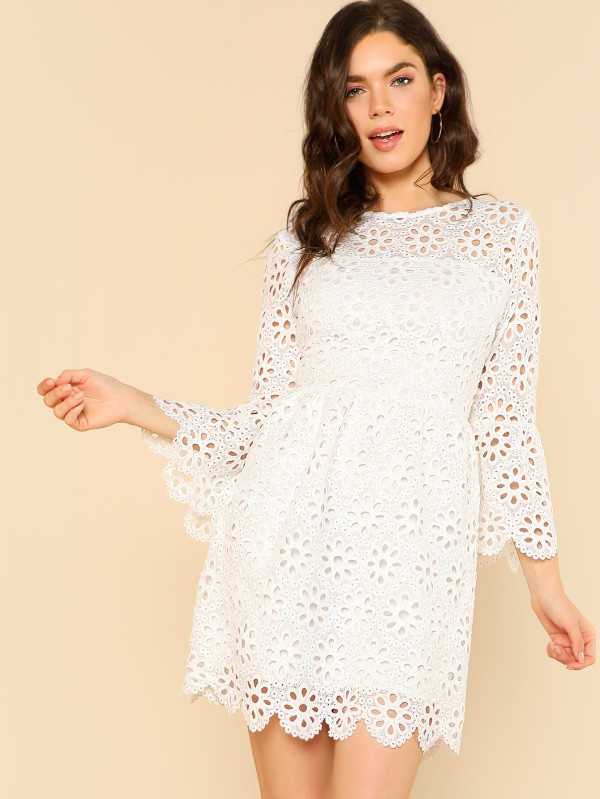 SHEIN Trumpet Sleeve Eyelet Lace Scallop Dress
