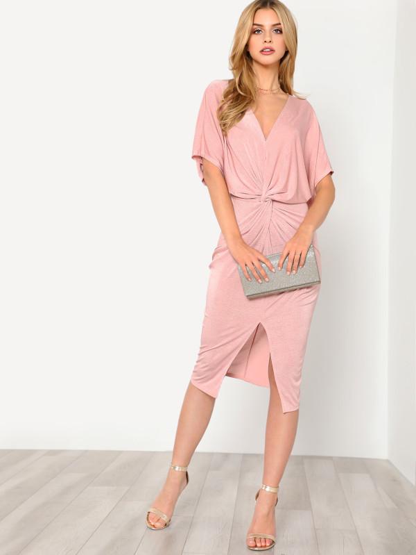 SHEIN Twist Front Kimono Dress