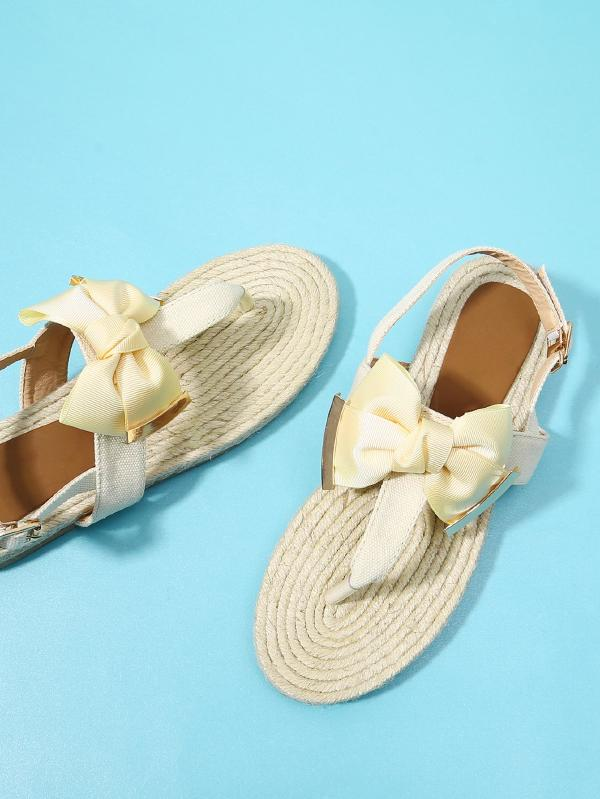 Toe Post Bow Decor Espadrille Sandals